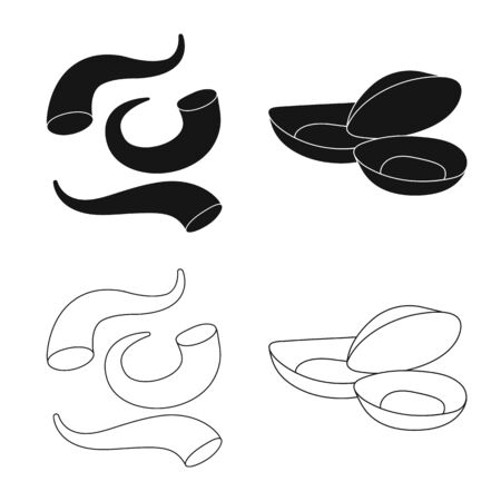 Isolated object of fresh and restaurant symbol. Set of fresh and marine vector icon for stock.