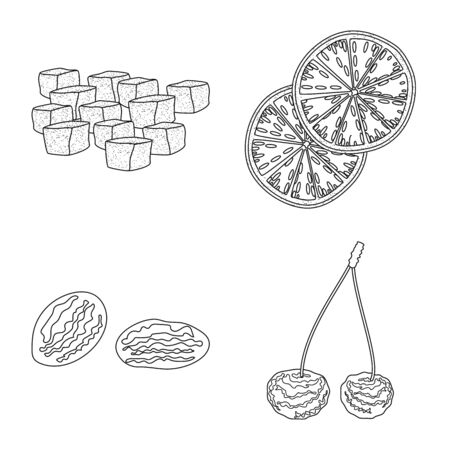 Vector illustration of food and raw icon. Set of food and nature vector icon for stock.