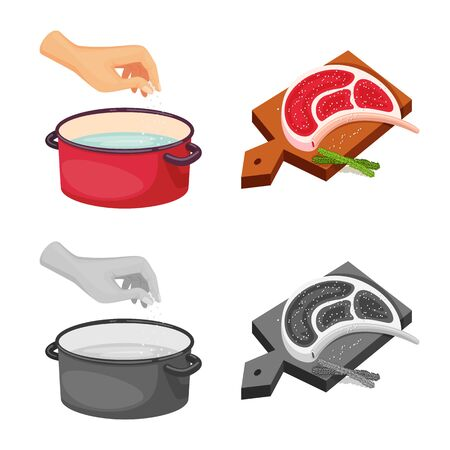 Isolated object of cooking and sea symbol. Set of cooking and baking vector icon for stock. Ilustração