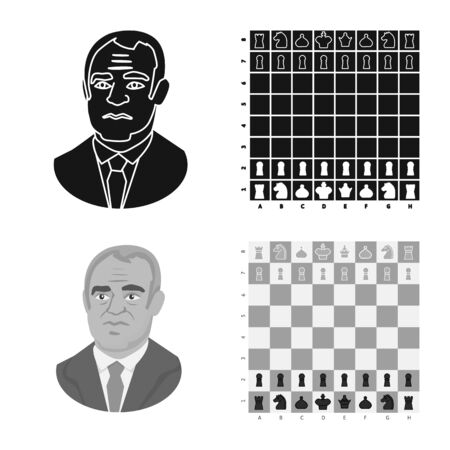 Vector illustration of checkmate and thin icon. Set of checkmate and target stock symbol for web. Иллюстрация