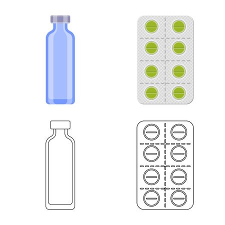 Vector illustration of retail and healthcare logo. Set of retail and wellness stock vector illustration. Ilustração