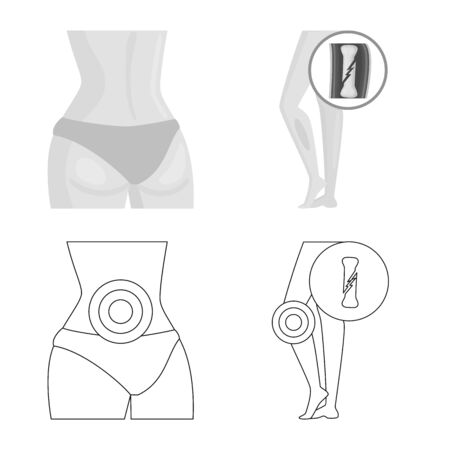 Vector design of hospital and rendering logo. Collection of hospital and help stock vector illustration. Ilustração