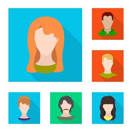 Vector illustration of avatar and dummy sign. Set of avatar and figure stock vector illustration.  イラスト・ベクター素材
