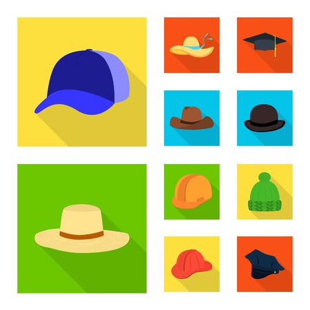 Isolated object of fashion and profession symbol. Set of fashion and cap vector icon for stock. Vettoriali