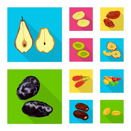 Vector illustration of fruit and dried logo. Collection of fruit and food stock symbol for web.