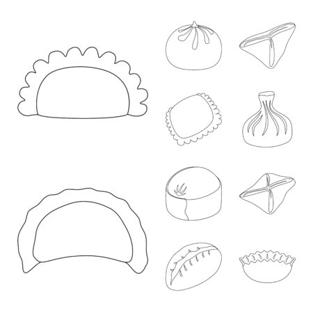 Vector design of food and dish symbol. Collection of food and cooking vector icon for stock.