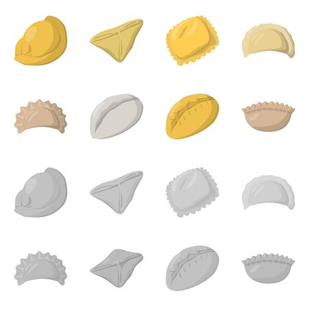 Vector illustration of products and cooking symbol. Collection of products and appetizer vector icon for stock. Illustration