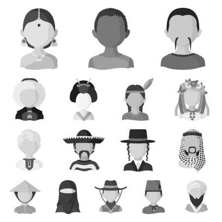 Objeto aislado del icono de la persona y la cultura. Colección de icono de vector de persona y raza para stock.