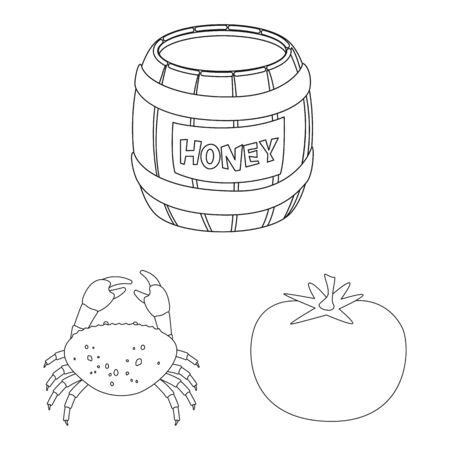 Vector design of seasonin and ingredient sign. Set of seasonin and aroma stock symbol for web.
