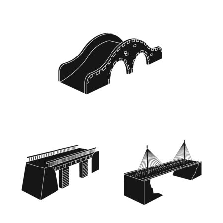 Vector design of construct and side icon. Collection of construct and architecture stock symbol for web.