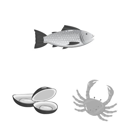 Vector design of seafood and healthy sign. Collection of seafood and ocean vector icon for stock. Illustration