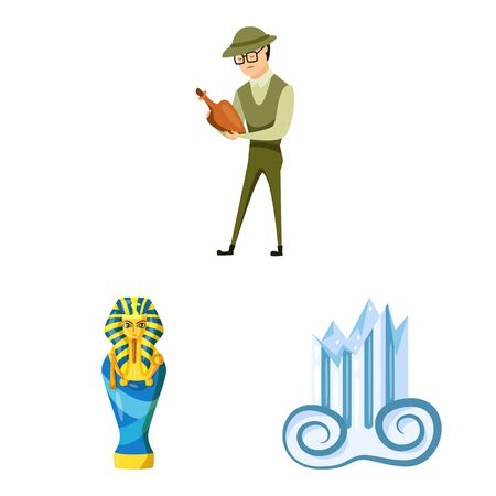 Vector design of archaeology and historical symbol. Set of archaeology and excavation stock symbol for web. Иллюстрация