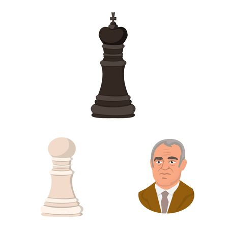 Isolated object of chess and game symbol. Set of chess and strategy vector icon for stock.
