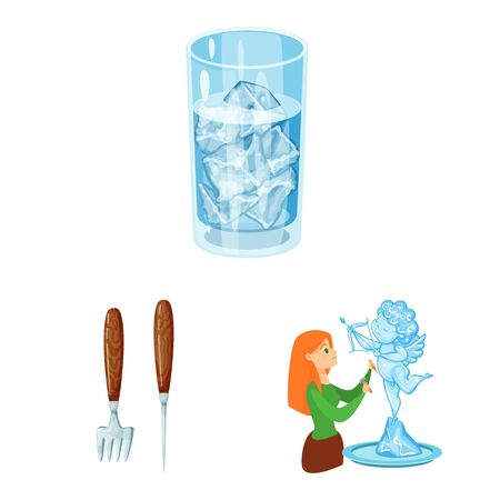 Isolated object of frost and water icon. Set of frost and wet stock vector illustration.