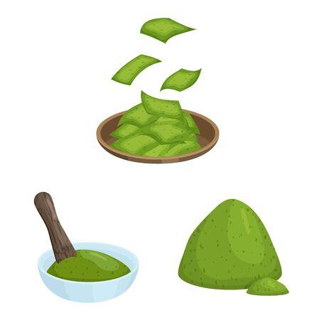 Vector design of spirulina and seaweed logo. Set of spirulina and vegan stock symbol for web. 写真素材 - 132856292