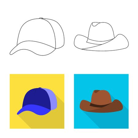 Isolated object of clothing and cap symbol. Collection of clothing and beret vector icon for stock.