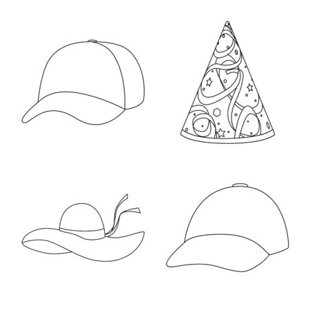 Vector illustration of headgear and napper logo. Collection of headgear and helmet stock symbol for web.