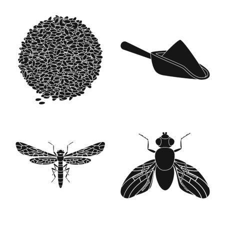 Vector design of rye and plant icon. Set of rye and corn stock vector illustration. Ilustração