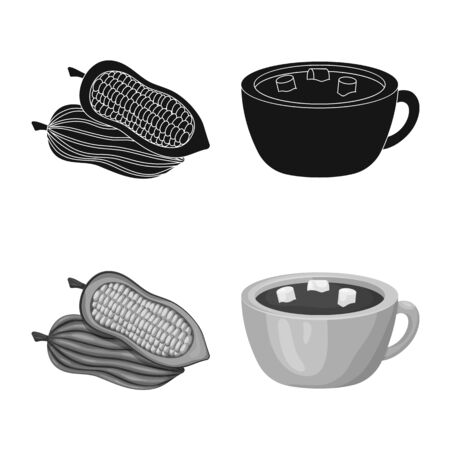 Isolated object of food and yummy symbol. Collection of food and brown vector icon for stock.