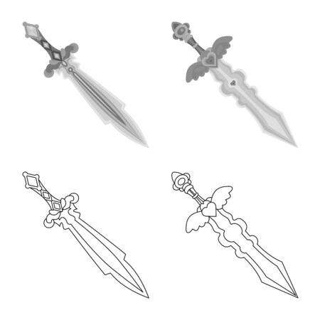 Isolated object of game and armor logo. Collection of game and blade vector icon for stock. Ilustracja