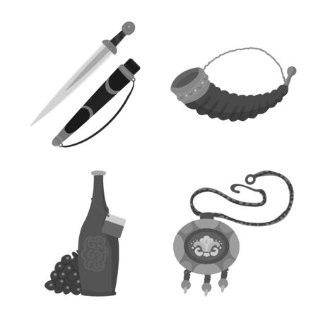Vector illustration of attributes and tourism icon. Set of attributes and national stock symbol for web. Çizim