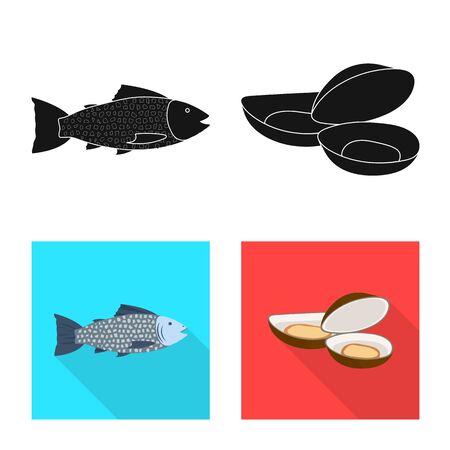 Vector design of fresh and restaurant symbol. Set of fresh and marine stock symbol for web.