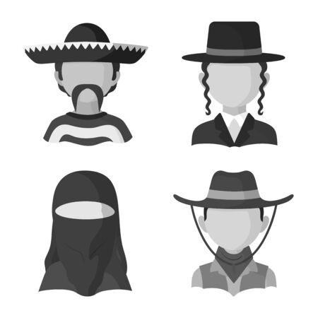 Isolated object of person and culture icon. Collection of person and race stock vector illustration.  イラスト・ベクター素材