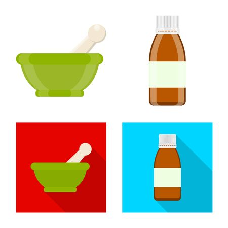 Vector illustration of retail and healthcare icon. Set of retail and wellness stock vector illustration. Çizim