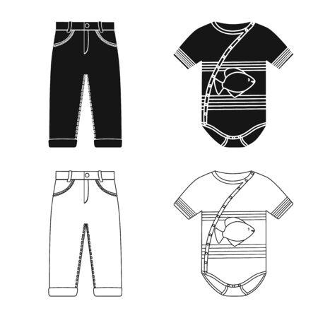 Objeto aislado de moda y ropa. Colección de icono de vector de moda y algodón para stock.