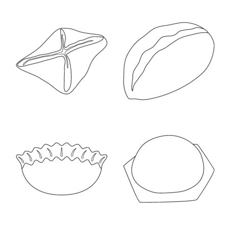 Vector illustration of food and dish logo. Collection of food and cooking stock vector illustration. Illustration