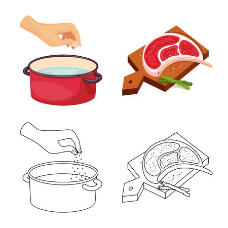 Isolated object of cooking and sea sign. Collection of cooking and baking vector icon for stock.