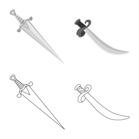Vector design of game and armor logo. Set of game and blade vector icon for stock.