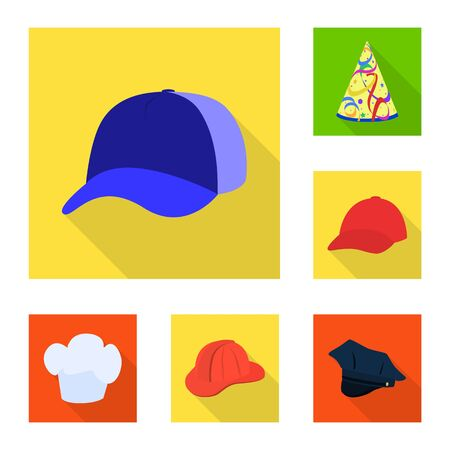 Vector design of fashion and profession logo. Collection of fashion and cap stock symbol for web.