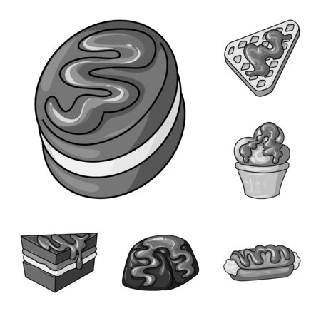 Isolated object of sweet and caramel symbol. Set of sweet and culinary vector icon for stock. Ilustração