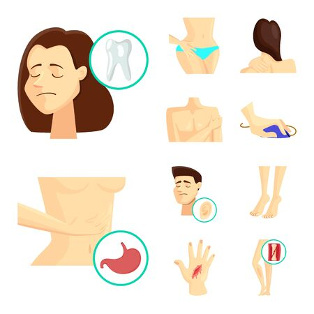 Isolated object of pain and disease icon. Collection of pain and injury stock vector illustration. Ilustração