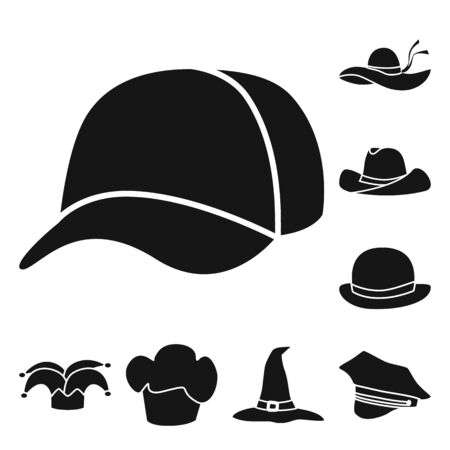 Vector design of beanie and beret logo. Set of beanie and napper vector icon for stock.