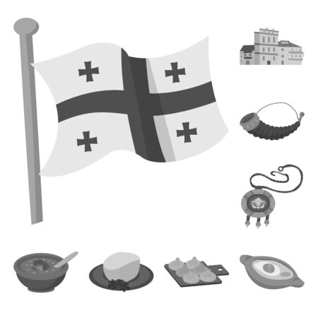 Vector design of attributes and tourism icon. Collection of attributes and national vector icon for stock.