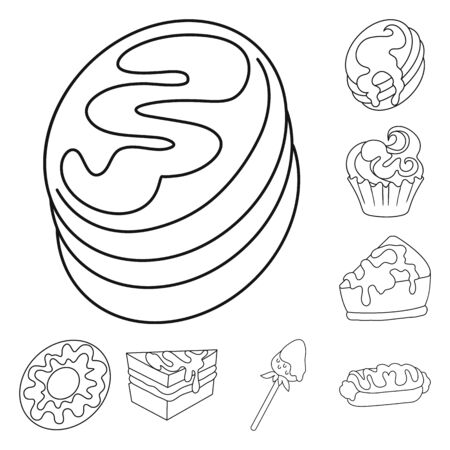 Vector design of sweet and product sign. Set of sweet and caramel stock vector illustration.