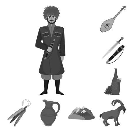 Vector design of attributes and tourism symbol. Collection of attributes and national stock vector illustration.