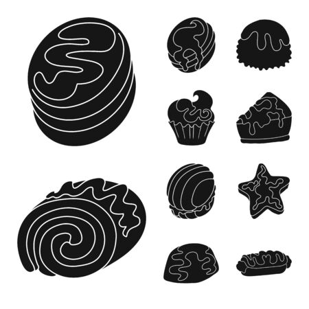 Vector illustration of sweetness and product icon. Collection of sweetness and sweet vector icon for stock.