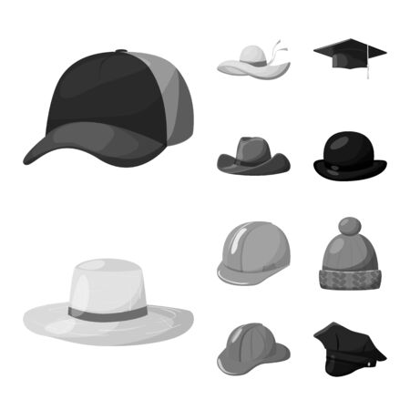 Vector illustration of hat and helmet symbol. Set of hat and profession vector icon for stock.