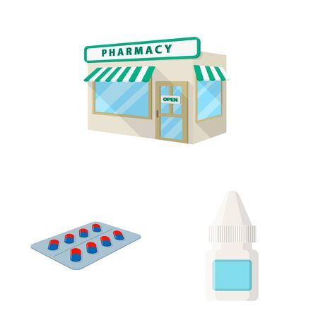 Isolated object of pharmacy and pharmaceutical logo. Collection of pharmacy and health stock symbol for web. Çizim