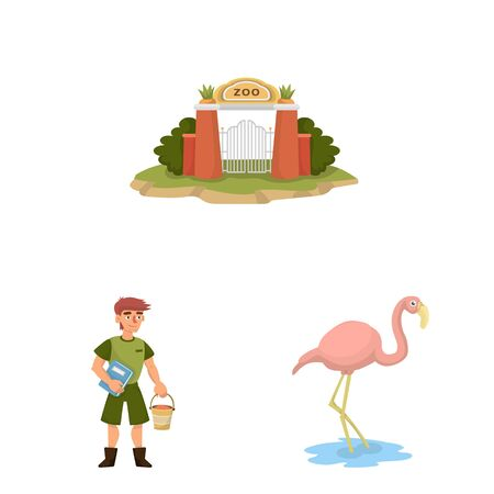 Vector design of zoo and park icon. Collection of zoo and animal stock vector illustration. Иллюстрация