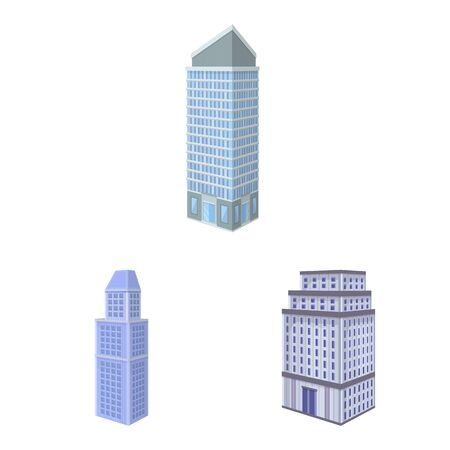 Isolated object of city and build logo. Set of city and apartment stock symbol for web. Çizim