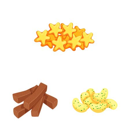 Isolated object of food and crunchy icon. Set of food and flavor stock vector illustration. Çizim