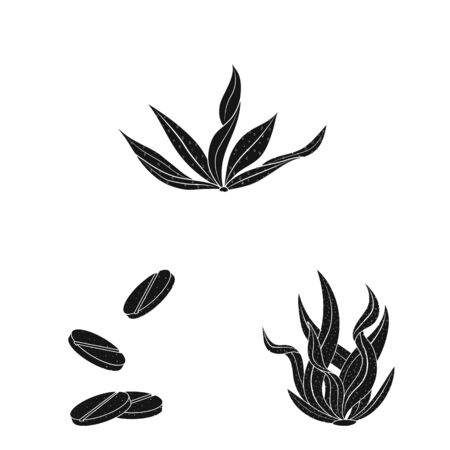 Vector illustration of grass and natural icon. Set of grass and seaweed vector icon for stock. Stok Fotoğraf - 130515120