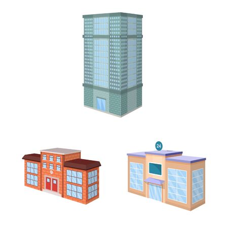 Vector design of city and build icon. Set of city and apartment vector icon for stock.