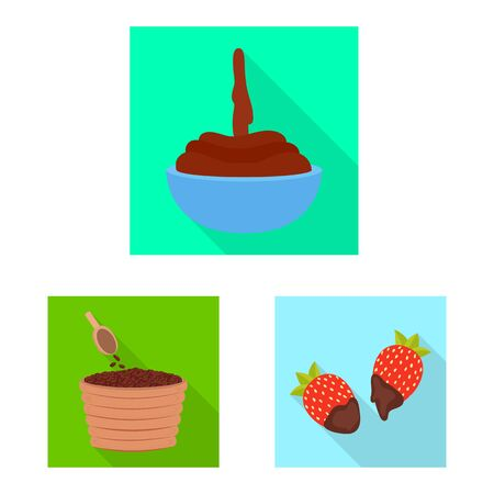 Vector illustration of treat and product icon. Set of treat and yummy vector icon for stock.