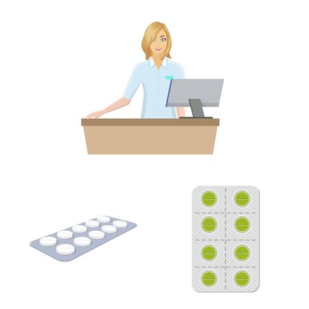 Isolated object of pharmacy and pharmaceutical symbol. Set of pharmacy and health stock vector illustration.