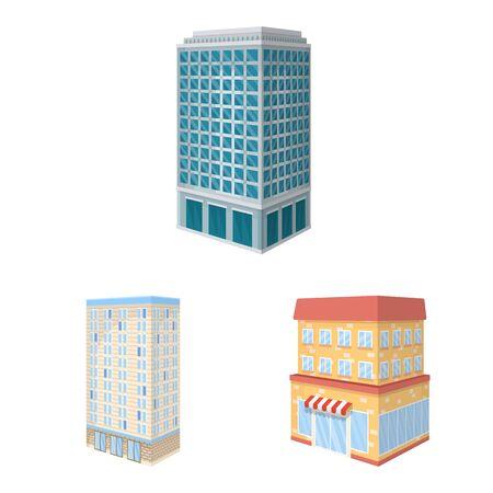 Vector illustration of city and build symbol. Collection of city and apartment stock symbol for web. Illustration